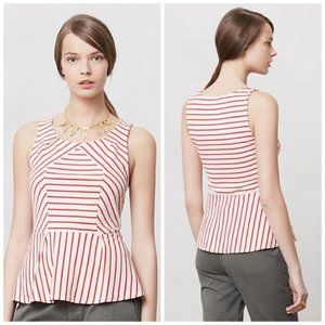 2/$20 LEIFNOTES XS Red Stripe Peplum Knit Top